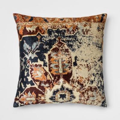 Distressed Printed Velvet Square Throw Pillow - Threshold™