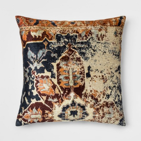 Distressed Printed Velvet Square Throw Pillow - Threshold™ - image 1 of 3