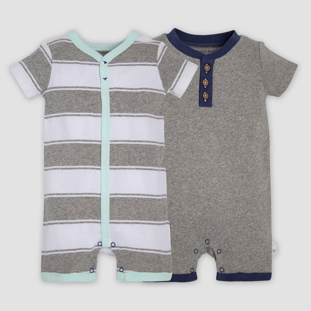 Burt's Bees Baby Organic Cotton Boys' 2pk Rugby Striped Rompers - Heather Gray 12M