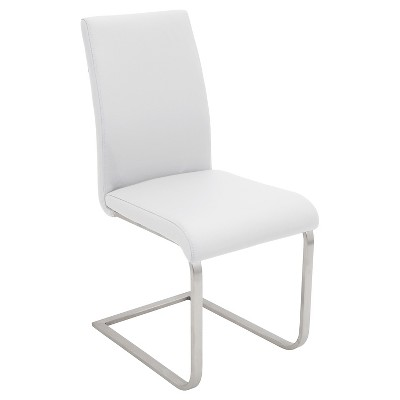 Foster Contemparary Stainless Steel Dining Chairs   White (Set Of 2)    LumiSource : Target