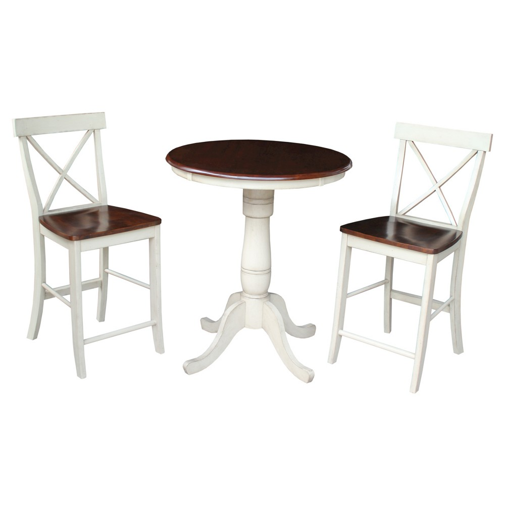 3 Piece Dining Set 30 Round Pedestal Gathering Height Table Wood/Antiqued Almond & Espresso - International Concepts, Brown
