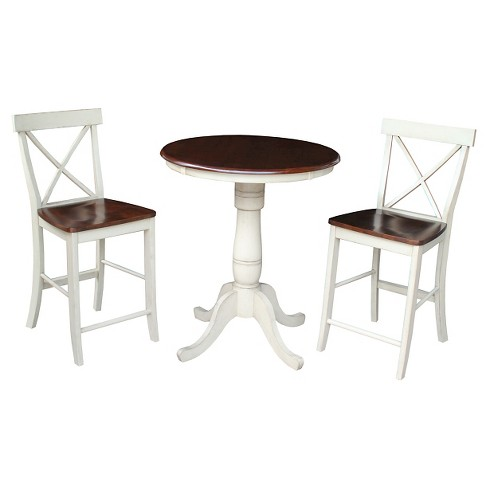 "3 Piece Dining Set 30"" Round Pedestal Gathering Height Table Wood/Antiqued Almond & Espresso - International Concepts - image 1 of 1"