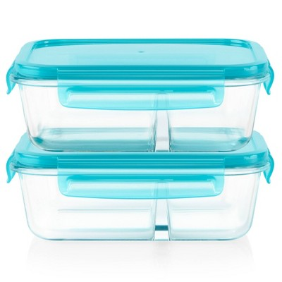 Pyrex Meal Box 4pc 3.4 Cup Rectangular Glass Food Storage Value Pack - Teal