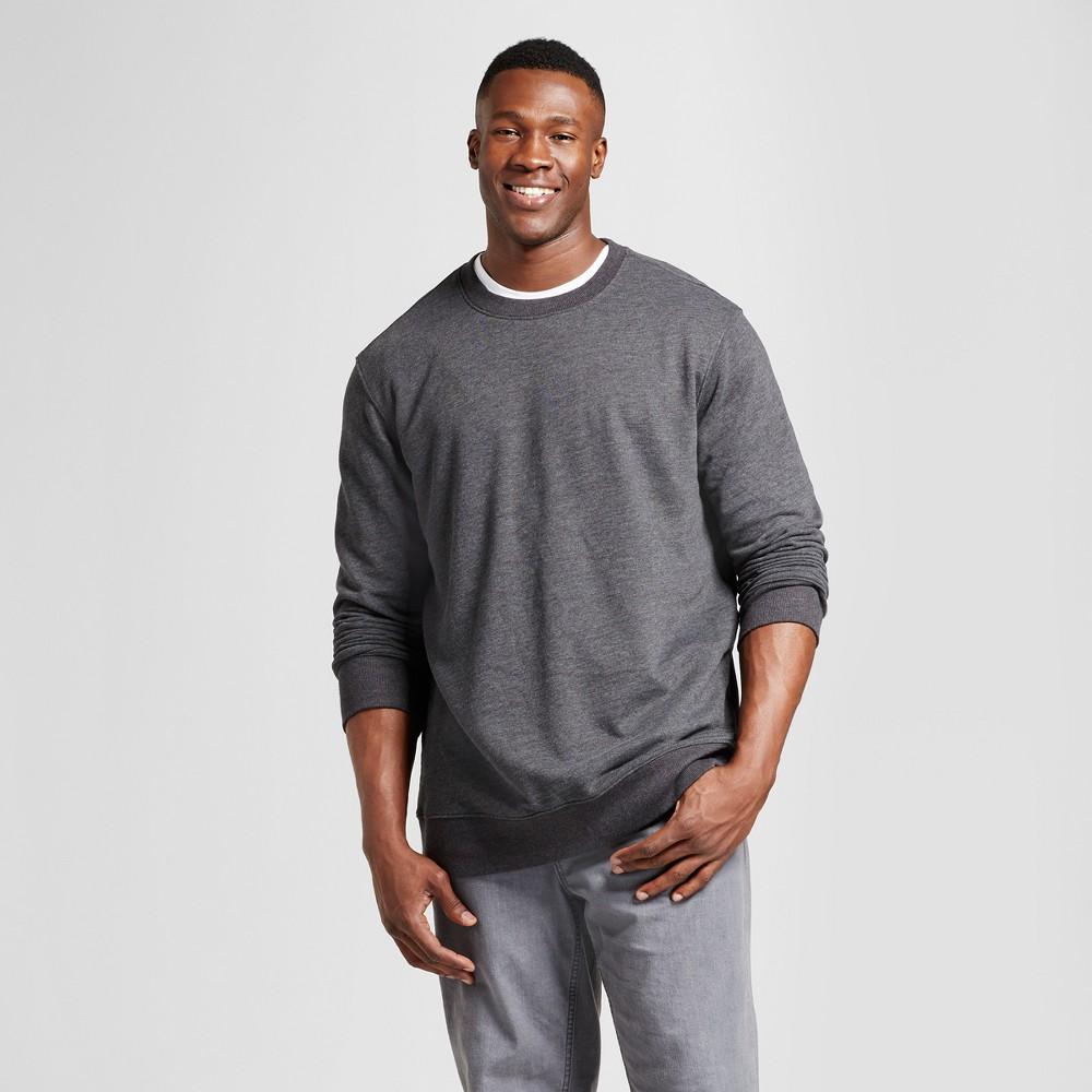 Men's Tall Fleece Crew Neck Sweatshirt - Goodfellow & Co Charcoal (Grey) Xlt