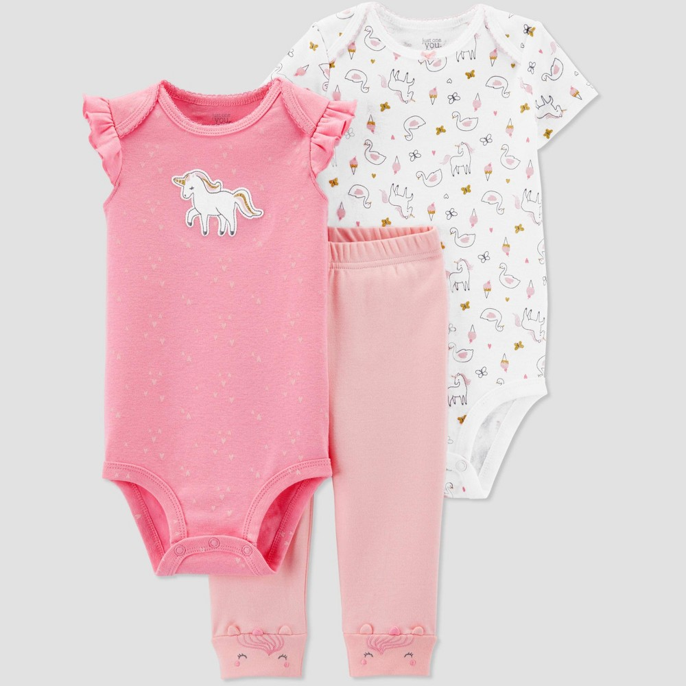 Baby Girls' 3pc Unicorn Top And Bottom Set - Just One You made by carter's Pink/White/Peach 24M