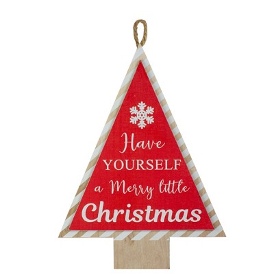 """Northlight 16"""" Red and White Merry Little Christmas Tree Wooden Hanging Wall Sign"""