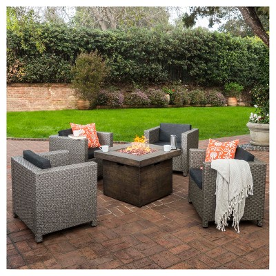 Puerta 5pc All-Weather Wicker Patio Club Chairs with Firepit Gray/Brown - Christopher Knight Home
