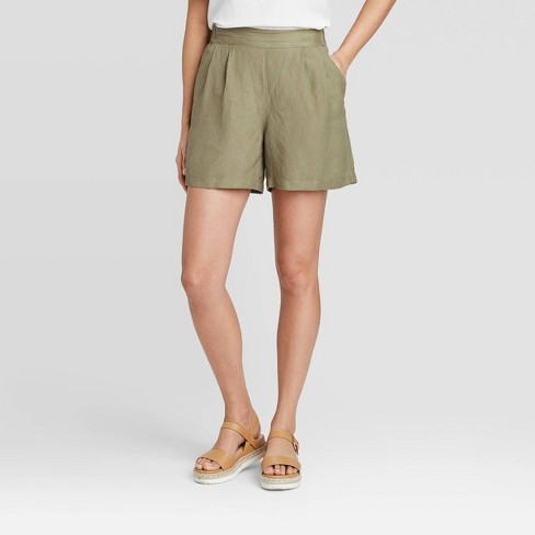 Women's Mid-Rise Linen Pull-On Shorts - A New Day™ - image 1 of 3