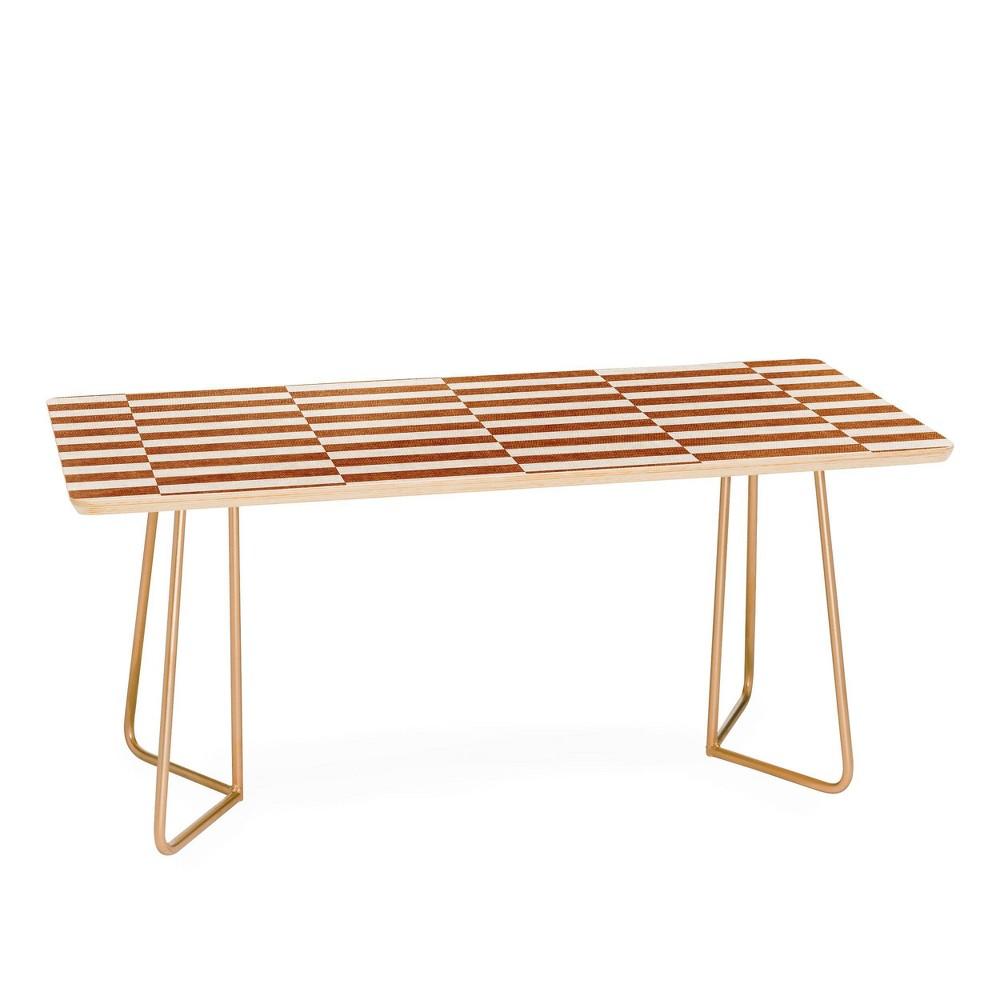 Little Arrow Design Co Aria Rectangle Tiles Coffee Table Gold Deny Designs