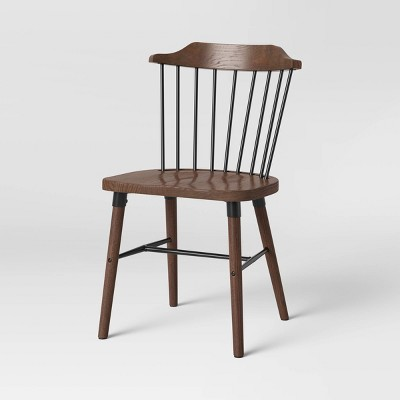 Delway Curved Back Mixed Material Dining Chair Walnut - Threshold™
