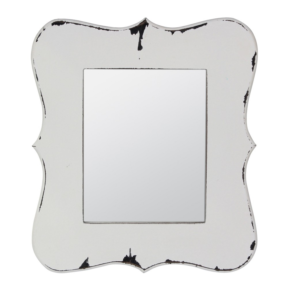 "Image of ""14"""" X 16"""" Worn Wooden Wall Mirror White - Stonebriar Collection"""