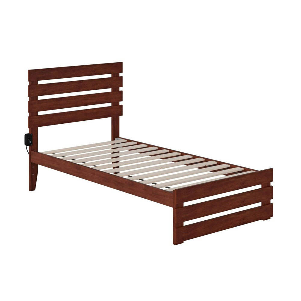 Twin Oxford Bed With Footboard And Usb Turbo Charger Walnut Atlantic Furniture