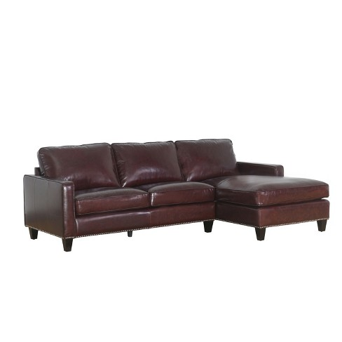 Lincoln Top Grain Leather Sectional Brown - Abbyson - image 1 of 10