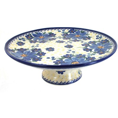Blue Rose Polish Pottery Daisy Surprise Cake Plate