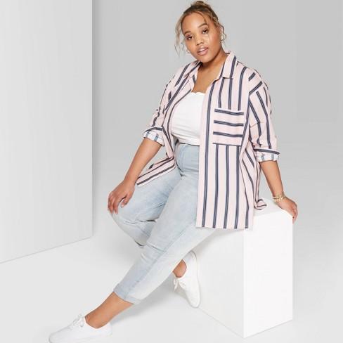 24b36112995 Women s Plus Size Striped Long Sleeve Oversized Button-Down Shirt - Wild  Fable™ Paris Pink   Target