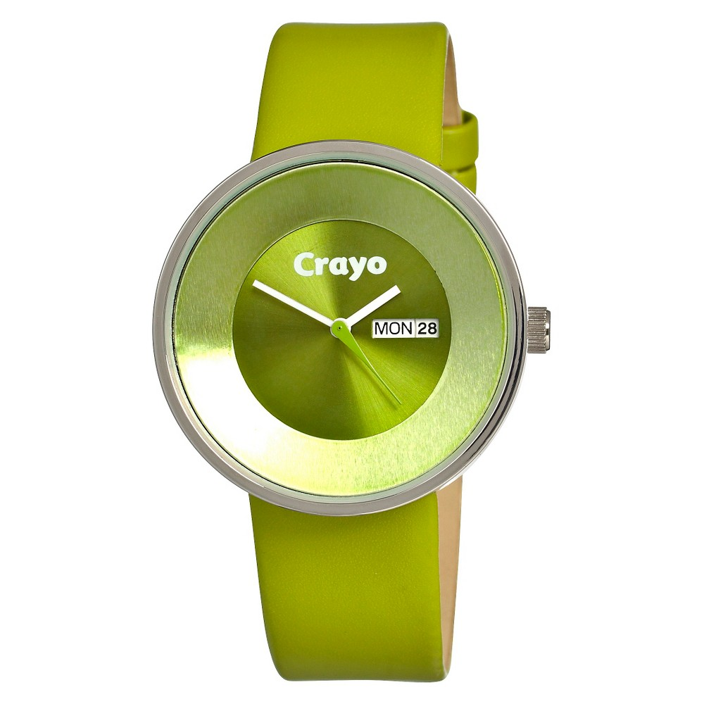 Image of Women's Crayo Button Watch with Day and Date Display - Green, Size: Small