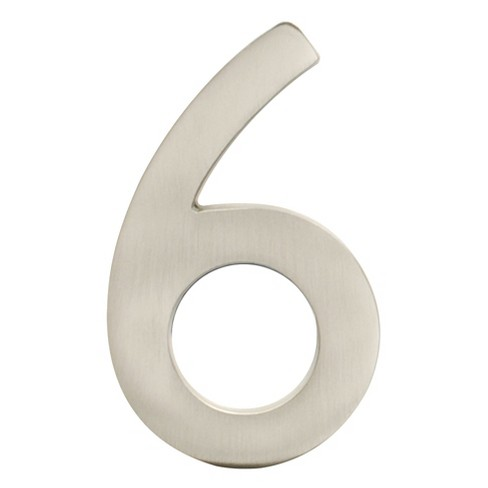 Architectural Mailbo 5 House Number 6 Satin Nickel