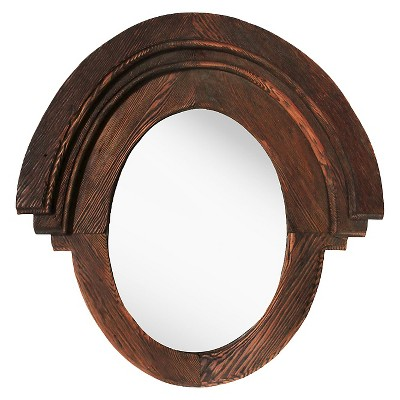Oval Western Rustic Decorative Wall Mirror Wood Finish - PTM Images