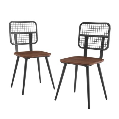 Set of 2 Industrial Mesh Back Dining Chair Dark Walnut - Saracina Home