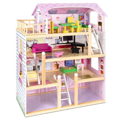 Best Choice Products 4-Level Kids Wooden Cottage Uptown Dollhouse w/ 13 Pieces of Furniture, Play Accessories - 32.25in