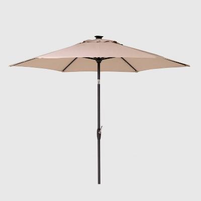 9' Round Solar Patio Umbrella DuraSeason Fabric™ Tan - Black Pole - Threshold™