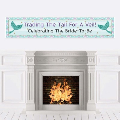 Big Dot of Happiness Trading The Tail for A Veil - Mermaid Bachelorette Party or Bridal Shower Decorations Party Banner
