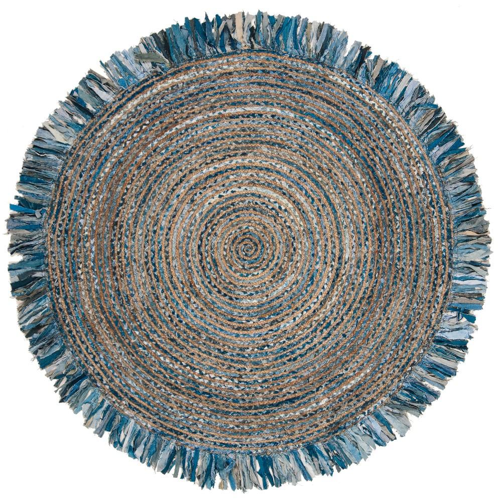 5' Stripe Woven Round Area Rug Ivory/Denim (Ivory/Blue) - Safavieh