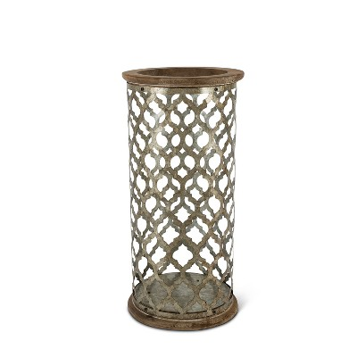 Everlasting Glow 17.5-Inch Tall Rustic Lantern with Wood Base and Top and Die Cut Galvanized Metal Body
