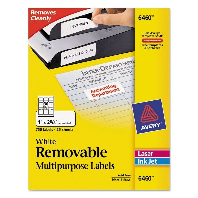 Avery Removable Multi-Use Labels 1 x 2 5/8 White 750/Pack 6460