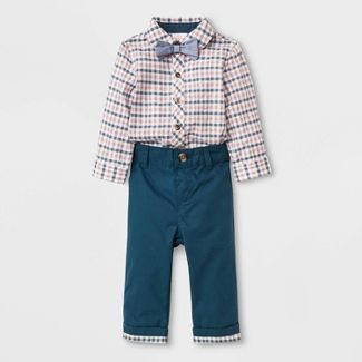 Baby Boys' Long Sleeve Seersucker Woven Bodysuit with Bowtie and Pants - Cat & Jack™ Blue/White 18M