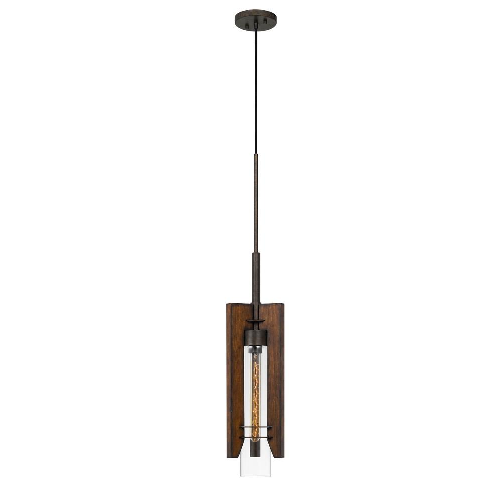 60W Almeria Wood/Glass Pendant Fixture Ceiling Light (Edison Bulb Not Included) - Cal Lighting, Multi-Colored