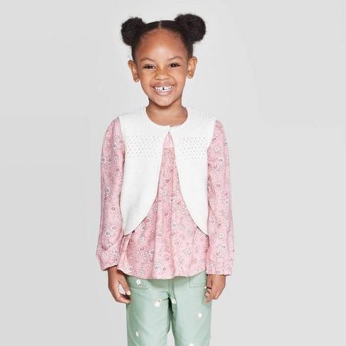 OshKosh B'gosh Toddler Girls' Sweater Vests - White - image 1 of 3