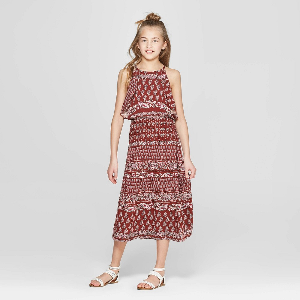 Girls' Ruffle Dress - art class Maroon M, Red