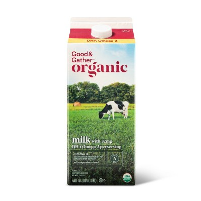 Organic DHA Omega-3 Whole Milk - 0.5gal - Good & Gather™