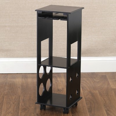 Lakeside Rolling Wine Rack and Beverage Supplies Storage Table
