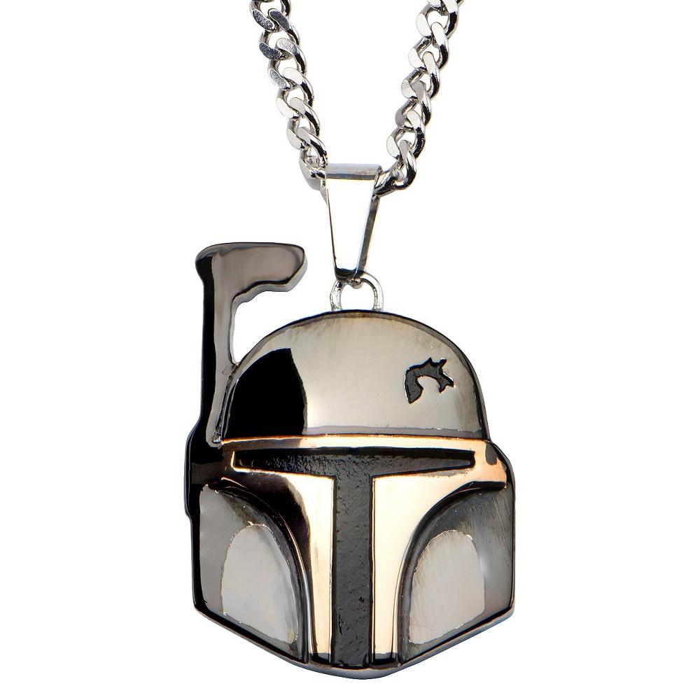 "Image of ""Men's Star Wars Boba Fett """"the bounty hunter"""" Stainless Steel Stainless Steel Pendant (22""""), Size: Small, Silver"""