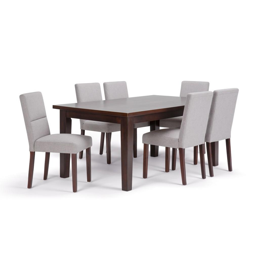 Seymour Solid Hardwood 7pc Dining Set Cloud Gray - Wyndenhall
