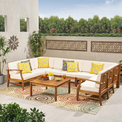 Perla 10pc Acacia Wood Seating Set - Christopher Knight Home - image 1 of 4