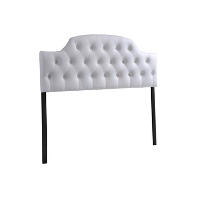 Morris Modern And Contemporary Faux Leather Upholstered Button-Tufted Scalloped Headboard - Queen - White - Baxton Studio