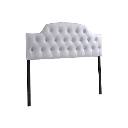 Morris Modern And Contemporary Faux Leather Upholstered Button-Tufted Scalloped Headboard - Queen - White - Baxton Studio - image 1 of 2