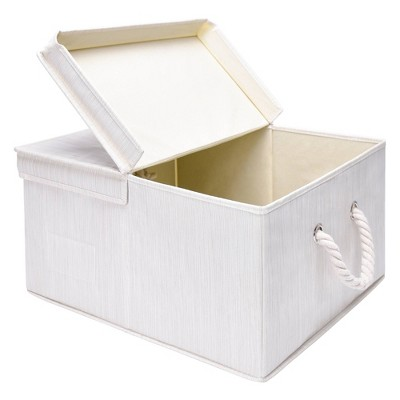 StorageWorks Foldable Polyester Storage Bin with Cotton Rope Handles and Double-Open Lid Ivory