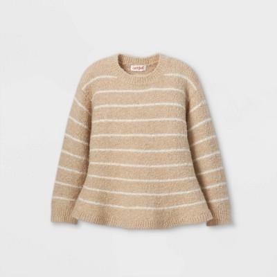 Toddler Girls' Striped Peplum Pullover Sweater - Cat & Jack™ Oatmeal