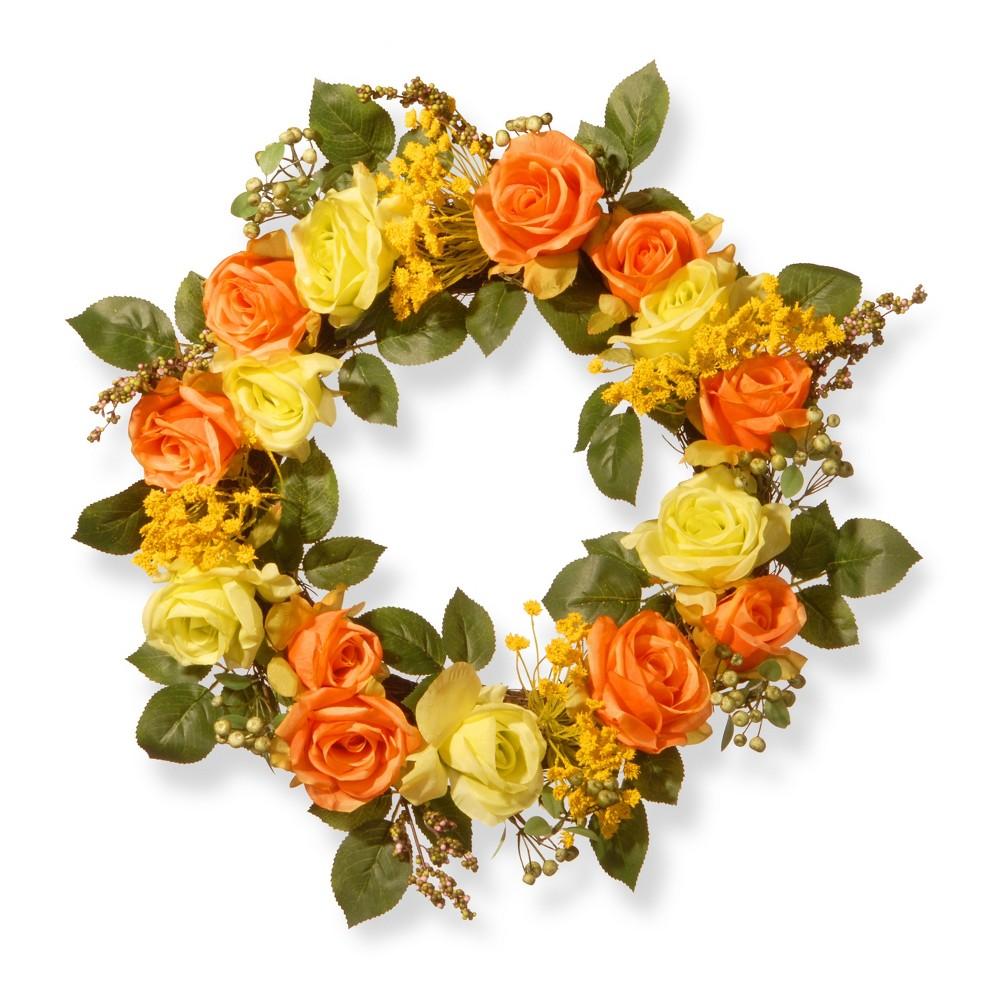 Artificial Spring Rose Wreath Orange 20 - National Tree Company