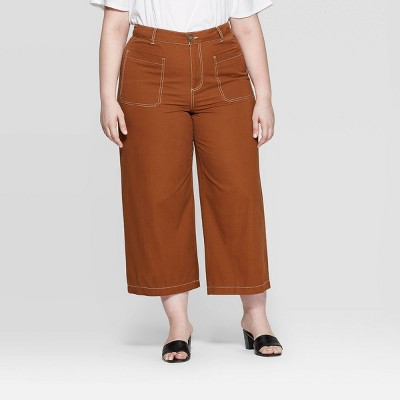 Women's Plus Size Wide Straight Leg Mid Rise Pants   Who What Wear Brown by Who What Wear Brown
