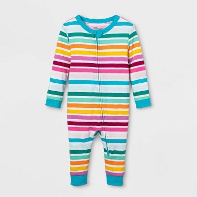 Baby Rainbow Striped Union Suit - Rainbow 3-6M
