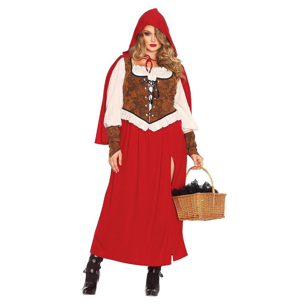 Image of Halloween Little Red Riding Hood Women's 3 Piece Costume - Medium