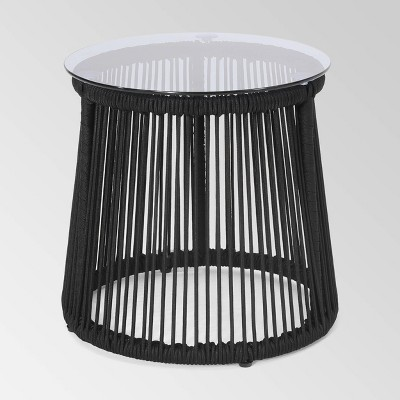 Moonstone Rope Weave Modern Side Table - Black - Christopher Knight Home