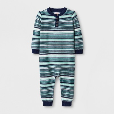 Baby Boys' Long Sleeve Sweater Romper - Cat & Jack™ Blue 3-6M