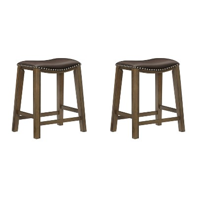 """Homelegance 24"""" Counter Height Wooden Stool Saddle Seat Barstool, Brown (2 Pack)"""