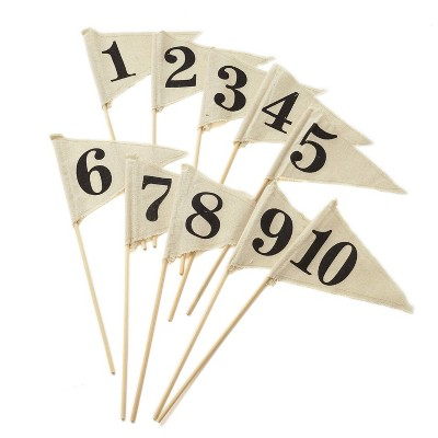 Number 1-10 Linen Pennant Table Party Decoration and Accessory Brown